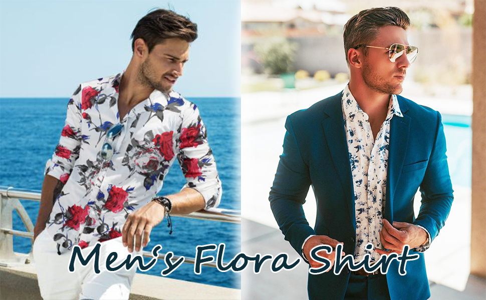 COOFANDY Men's Slim fit Floral Printed Long-Sleeve Button-Down Dress Shirt