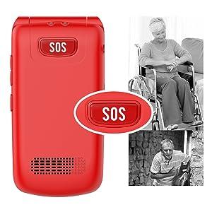 sim free flip clamshell  mobile phones flip up top accessible senior mobile phone unlocked senior