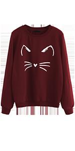 cute cartoon print cat printed loose casual sweatshirt pullover blouse top shirts