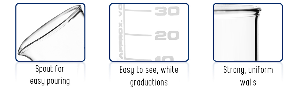 eisco labs spout for easy pouring easy to see white graduations strong uniform walls beaker griffin