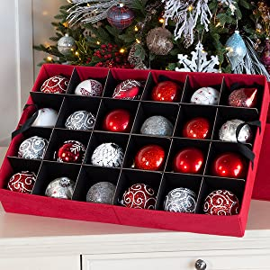 3f2a87599c70 [Christmas Ornament Storage Box with Dividers] - (Holds 72 Ornaments up to  3 Inches in Diameter) | Acid-Free Removable Trays with Separators | 3 ...