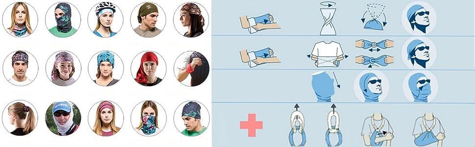Multifunktionale Schlauchtuch Halstuch Gesichtsschal Nahtloser Kopfbedeckung