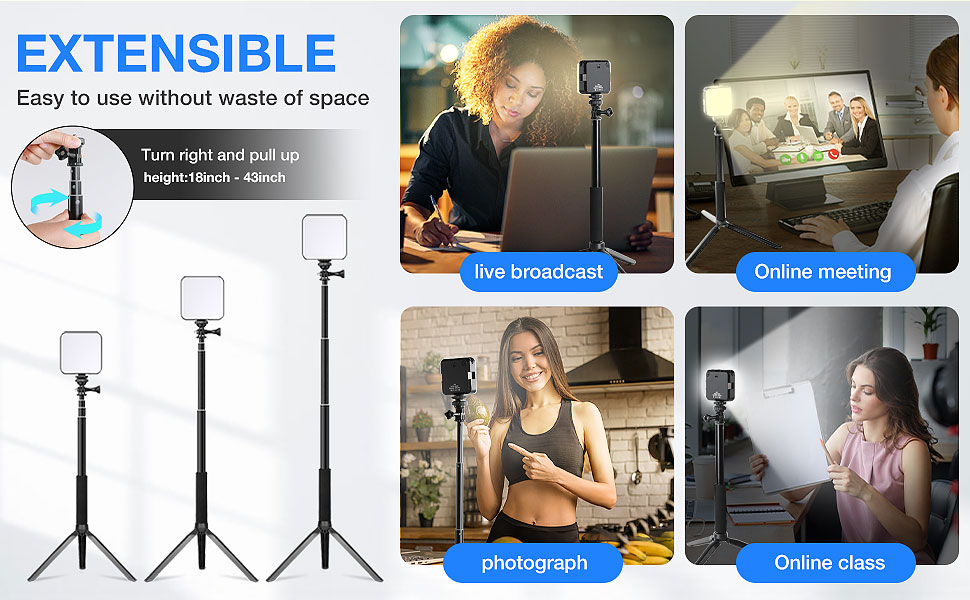 """18"""" to 43"""" height adjustable;"""