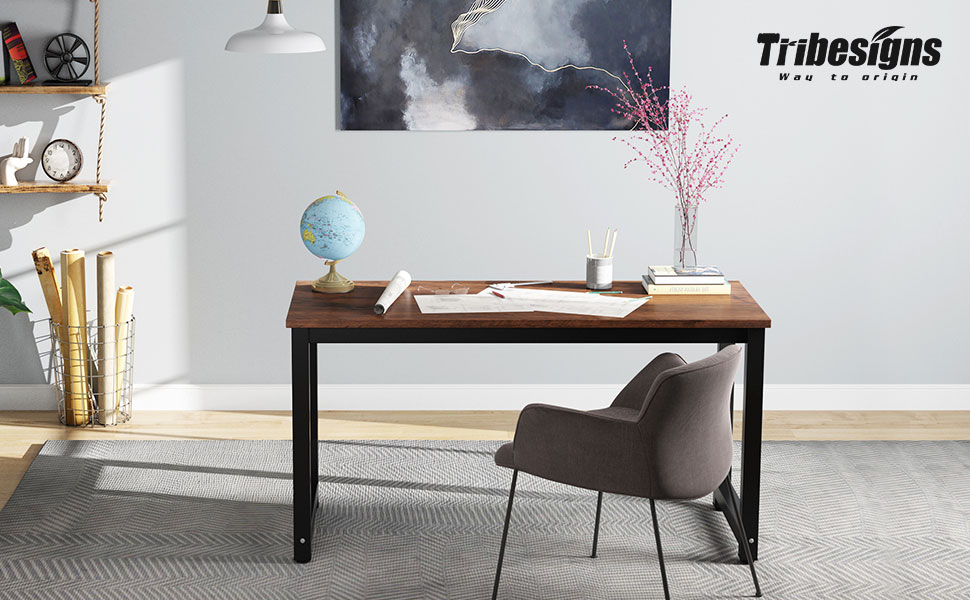 tribesigns 47 inch computer desk, vintage industrial office desk