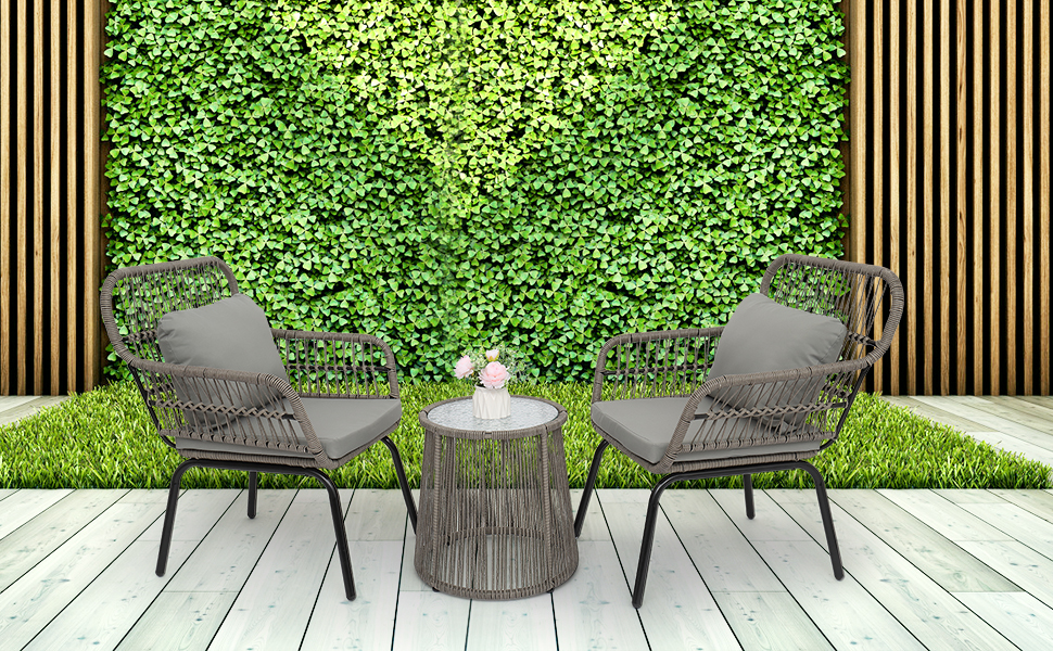 Wicker Patio Furniture Set with Side Table and Outdoor Chairs