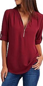 Chiffon Blouse Casual Loose Chiffon Tops V Neck Zipper Shirt Top