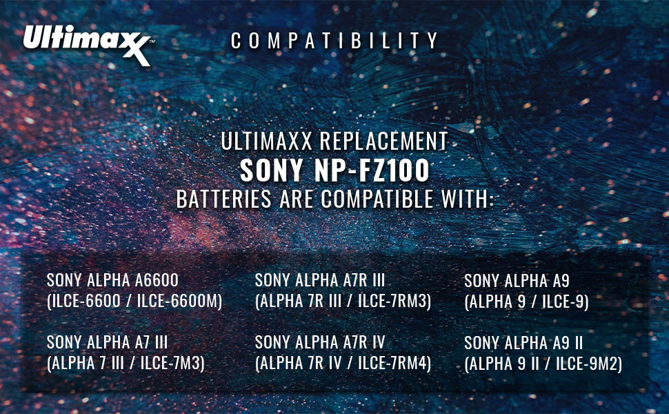 ultimaxx sony np-fz100 np fz100 npfz100 compatibility alpha a6600 a7iii a7riii a7riv a9 a9ii charger