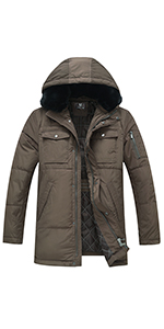 Men's Winter Coat Thicken Hooded Parka Jacket with Removable Fur,Multiple Pockets
