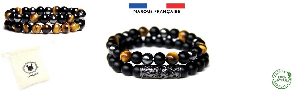 double bracelet en perles de 8mm pour hommes ou femmes mixte oeil de tigre onyx hematite