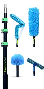 EVERSPROUT 4-Pack Duster Squeegee Kit with 24' Extension-Pole