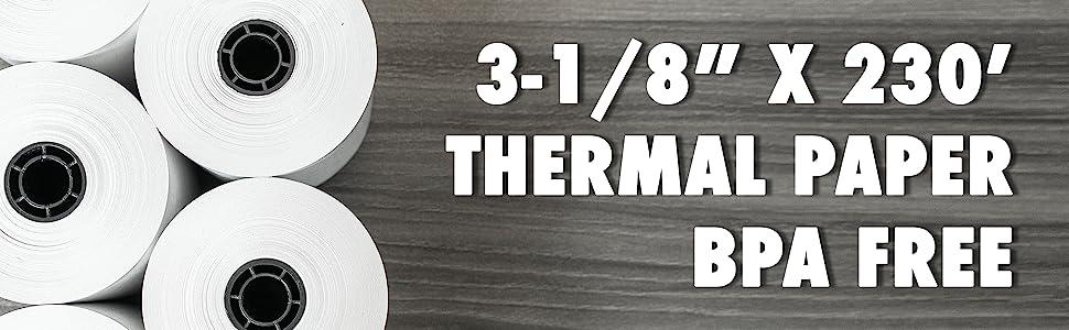3 1/8quot; x 230' Feet Thermal Paper Rolls