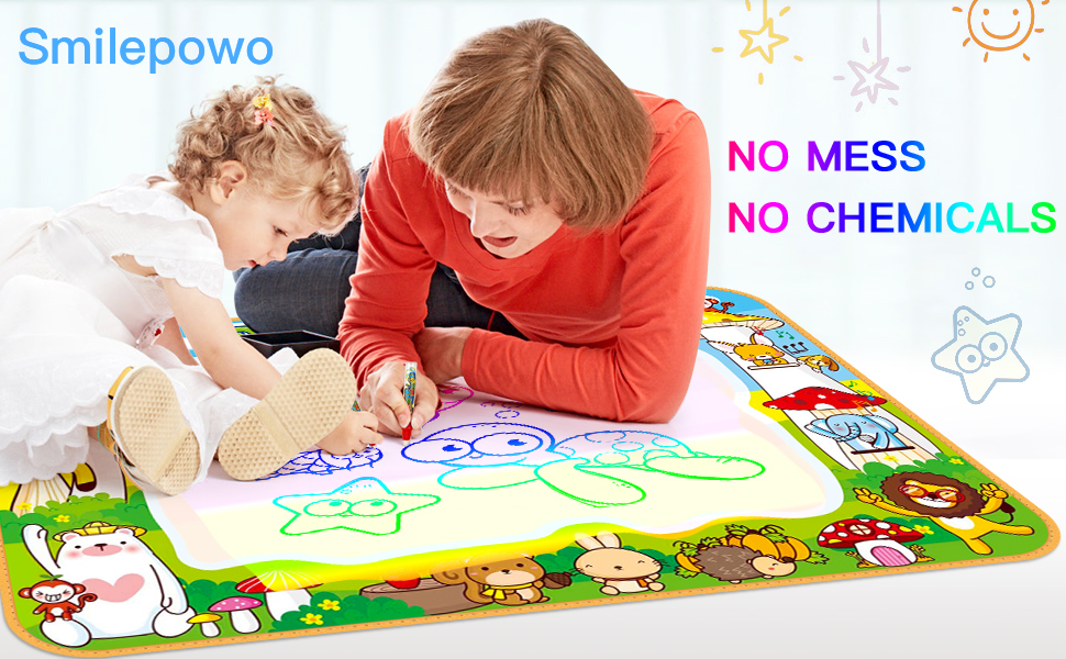 Details about Toddler Drawing Mat Mess Free Coloring Painting with 10  Cartoon Dinosaurs SmileP
