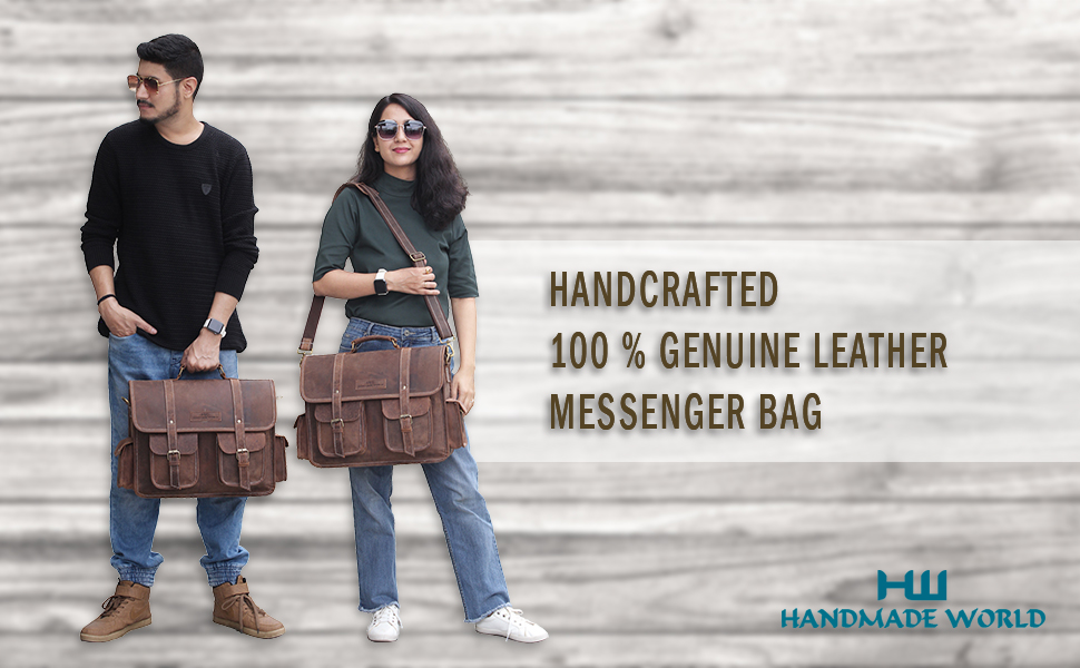 Handmade World 16 Inch Buffalo Leather Briefcase Laptop Messenger Bag Office College Men and Women