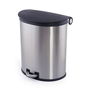 trash garbage waste can bin foot pedal stainless steel 40L 10.5g 13 Gallon Kitchen recycling