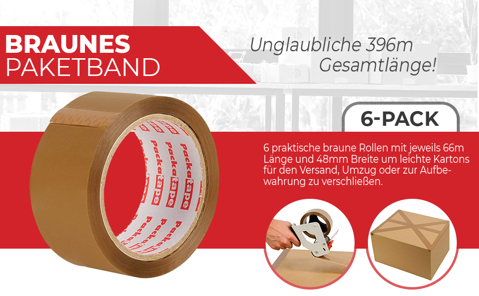 12 Rollen Paket-Klebeband á 66m Paketklebeband braun 48mm breit