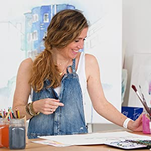watercolour artist Blule in her studio