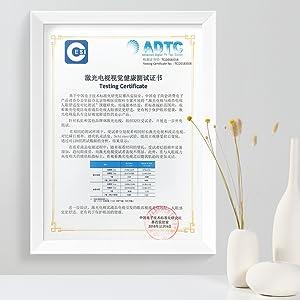 Laser TV Testing Certificate