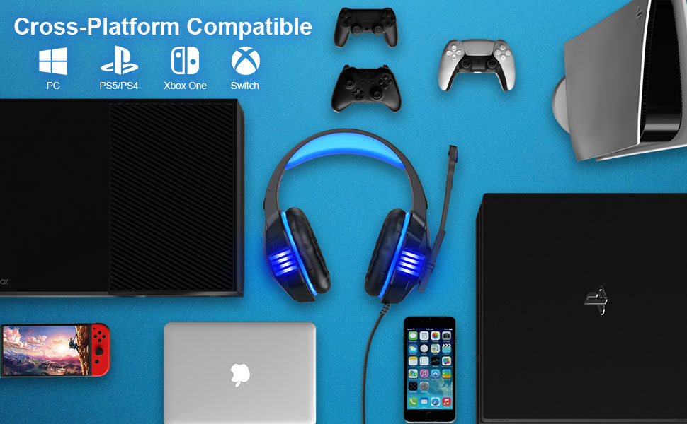 Gaming Headset for PS5/ PS4/ Xbox One/PC, Noise Canceling Over-Ear Headphones with Mic