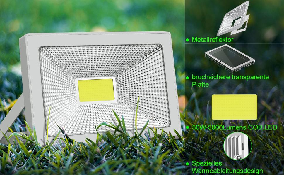 CLY LED Strahler 50W Scheinwerfer Flutlicht IP66 f/ür au/ßen und innen 6500K kaltesWei/ß Au/ßenstrahler Au/ßenleuchte Fluter Strahler 5000LM f/ür Garage Garten Hinterhof 2St/ück