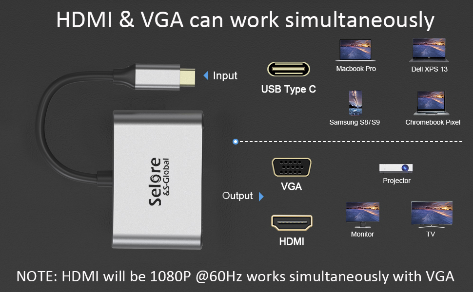 usb c to hdmi vga adapter for dell xps