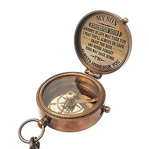 brass compass necklace
