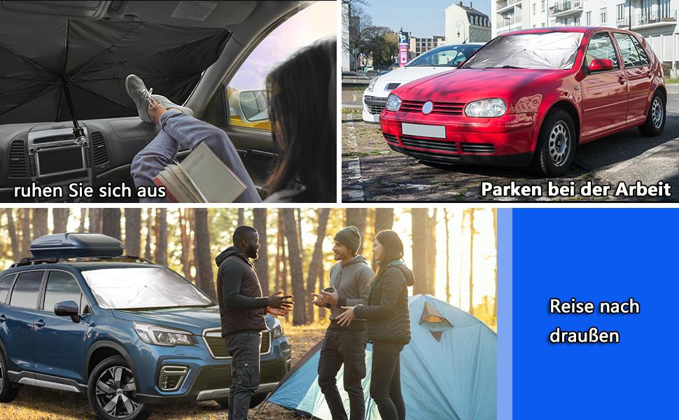 Conpush Auto Sonnenschutz Für Windschutzscheibe Faltbarer Frontscheibe Uv Schutz Regenschirm Sonnenschirm Universal 145 79cm Für Die Meisten Autos Suvs Und Lkws Groß Auto