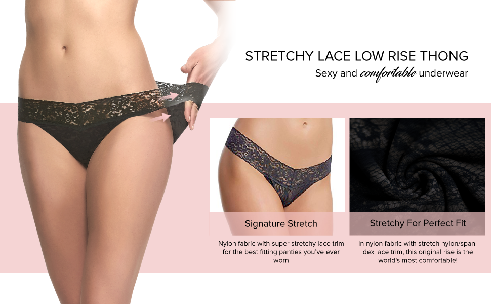 stretchy lace low rise thong