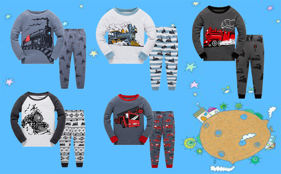 Little Boys Pajamas for Toddler Clothes Set Planet Train Sleepwear Long Sleeve 100/% Cotton 2 Piece Kids Pjs Size 1-10 Years