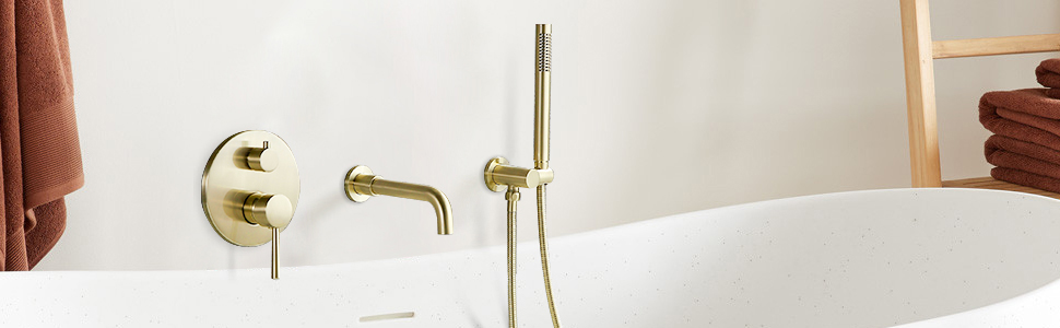 brushed gold bathtub faucet with handheld shower