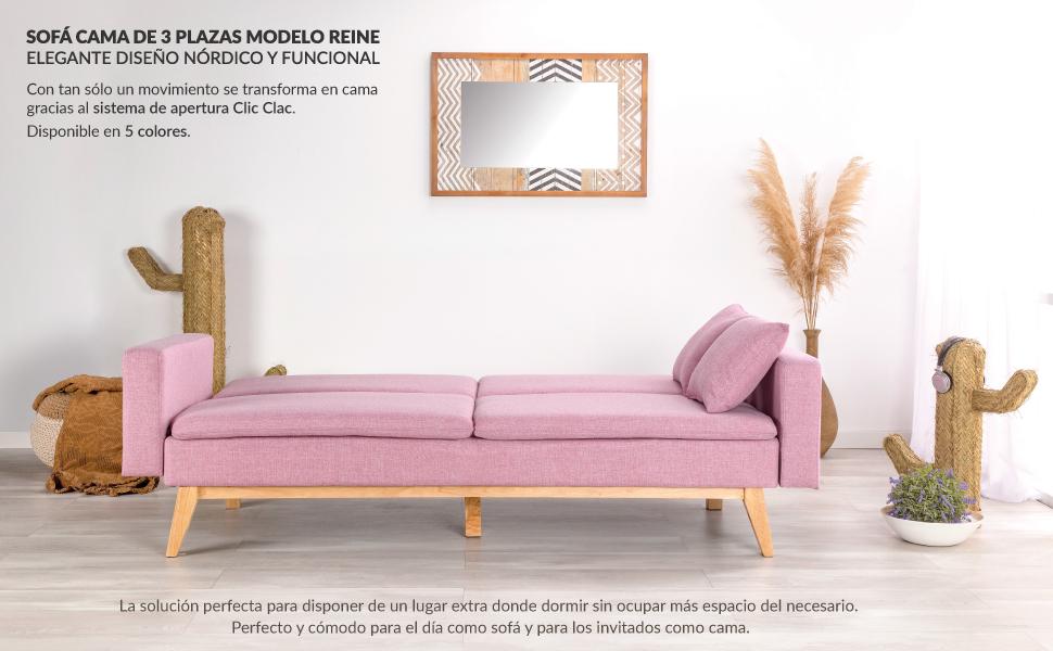 Don Descanso, Sofá Cama 3 plazas Reine, Tapizado en Tela, Color Rosa, Sistema Apertura de Libro o Clic-clac, Medida sofá: 206x74x83 cm, Medida Cama: ...