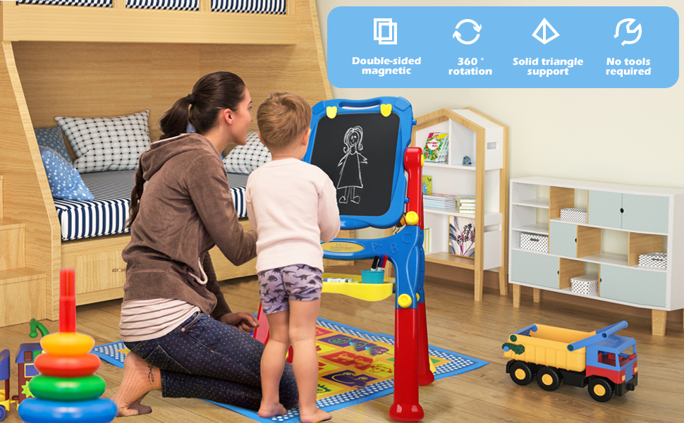 Sillbird Easel For Kids-Height Adjustable Standing Double Sided Chalkboard & Whiteboard And Magnetic Art Dry Erase Drawing Board With Art Supplies Accessories For Toddlers Boys Girls