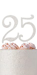 25 cake topper 25th anniversary cake topper 25th birthday cake topper silver 25th party supplies