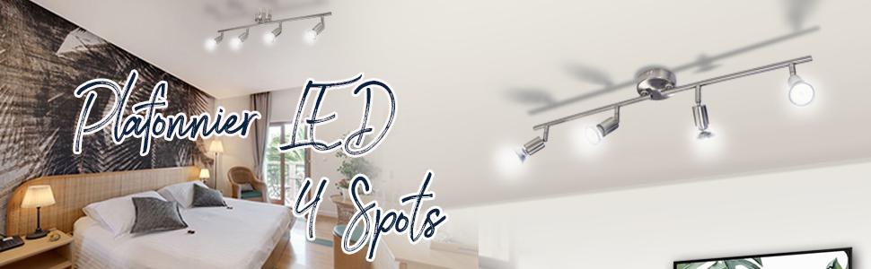 plafonnier led 4 spots luminaire plafonnier led orientable eclairage plafonnier 4 spots blanc froid
