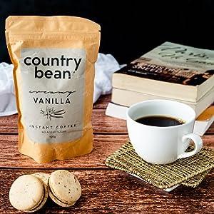 Country Bean Instant coffee, Flavoured coffee, Hazelnut coffee, caramel coffee, vanilla coffee.
