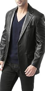 BGSD Men's Grant 2-Button Leather Blazer Lambskin Sport Coat Jacket