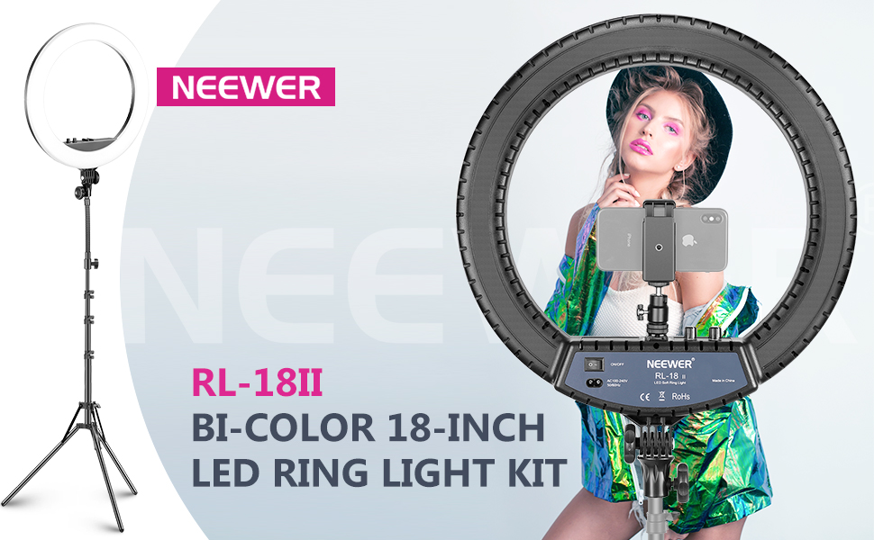 18 inches Ring Light With Stand and Phone Holder,Dimmable Bi-Color 3200-5600K