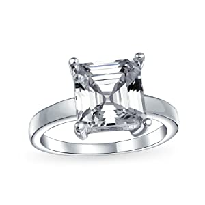 3CT Square Asscher Cut AAA CZ 4 Prong Solitaire Engagement Ring Thin Band 925 Sterling Silver