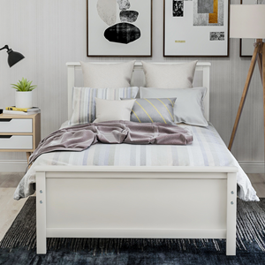 Twin Bed Frame with Headboard  Harper&Bright Designs Wood Platform Bed with Headboard, Footboard, Wood Slat Support, No Box Spring Needed(Twin, White) 2f035a66 0486 4343 9aa3 1ab700965144