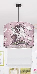 Nursery set lampada a sospensione unicorno