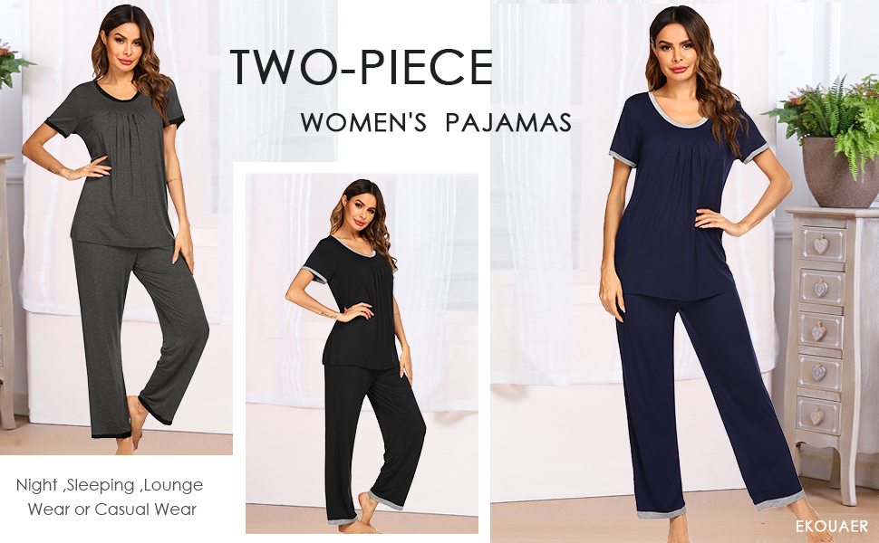 Pajama Set Lounge wear for Women Soft Tops and Full length Pants Round Neck Short Sleeve loungewear