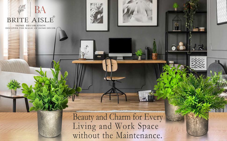 Mini artificial plants for home decor