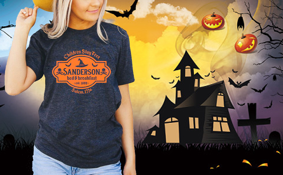 Womens Sanderson Sisters Bed and Breakfast T Shirt Funny Halloween Graphic Tees Casual Shirt Tops