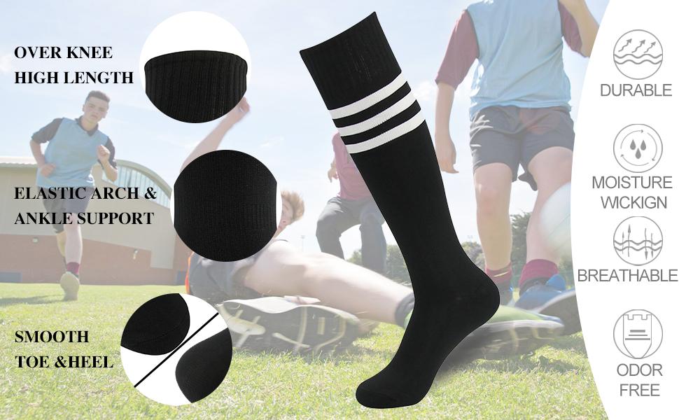 ** 12 PAIRS OF BOYS STRIPY FOOTBALL SOCKS VARIOUS SIZES NEW ** B303 6-8