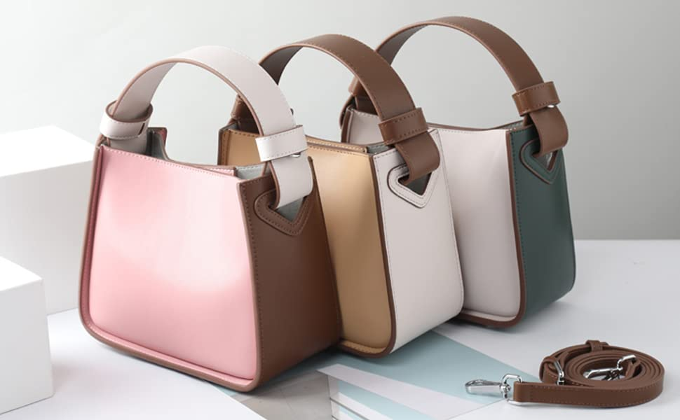 d9646c7e18ce Amazon.com: Iswee Womens Leather Bucket Bag Small Tote Purse Top ...