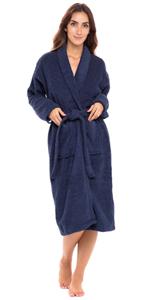 Women Shawl Collar Bathrobe Ladies Cotton Terry Kimono Collar Luxury Spa Robes