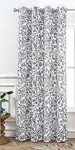 Julia watercolor floral curtain 52 84 gray