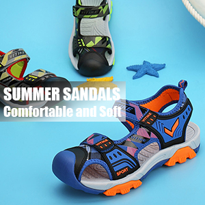 Toddler//Little Kid//Big Kid WETIKE Kids Sandals Closed-Toe Outdoor Sport Sandals for Girls Summer Beach Two Straps Boys Sandals Leather