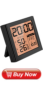 Travel Alarm Clock with Temperature Humidity Monitor