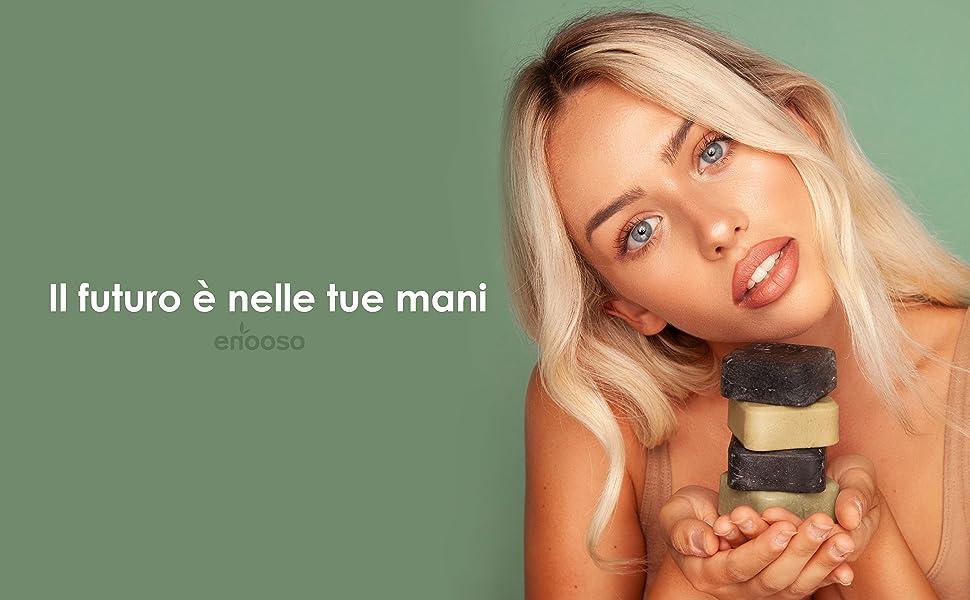 il futuro è nelle tue mani enooso shampoo ecologico prodotti sostenibili per una vita green