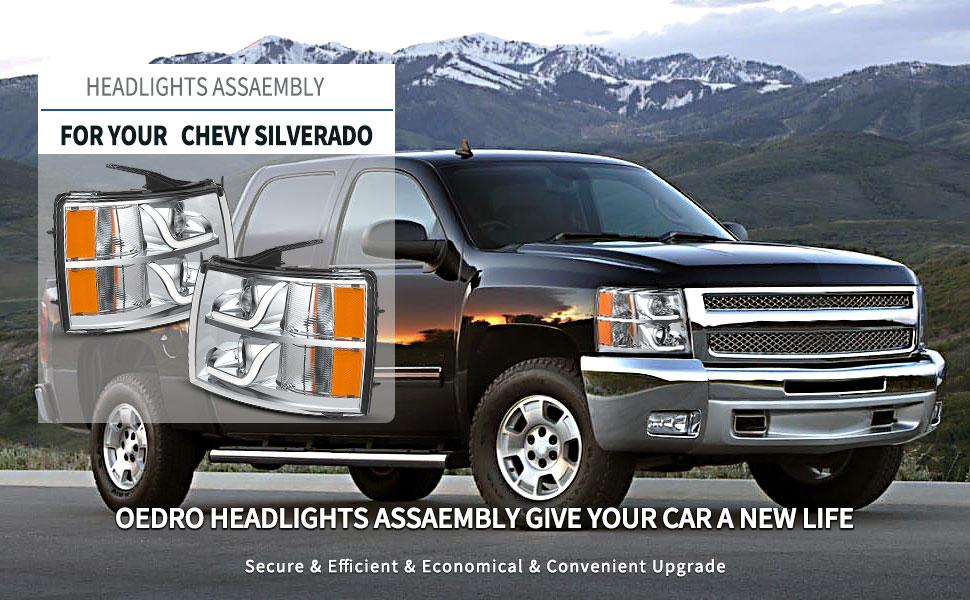 Projector Headlights w/LED DRL Bar Compatible with 07-13 Chevy Silverado 1500 | 07-14 Silverado
